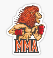 Mixed Martial Arts Lion Heart Beast MMA Fans and Fighters Sticker