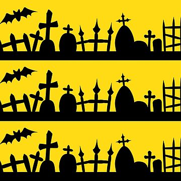 Halloween Graveyard Cemetery Pattern Yellow by xsylx