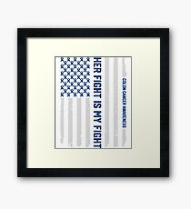 Her Fight American Flag Colorectal Bowel Colon Cancer Awareness Framed Print