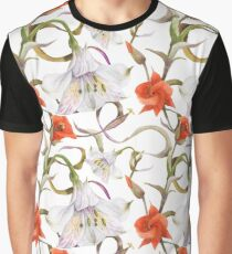 Watercolor floral seamless pattern by alstroemeria and calochortus Graphic T-Shirt