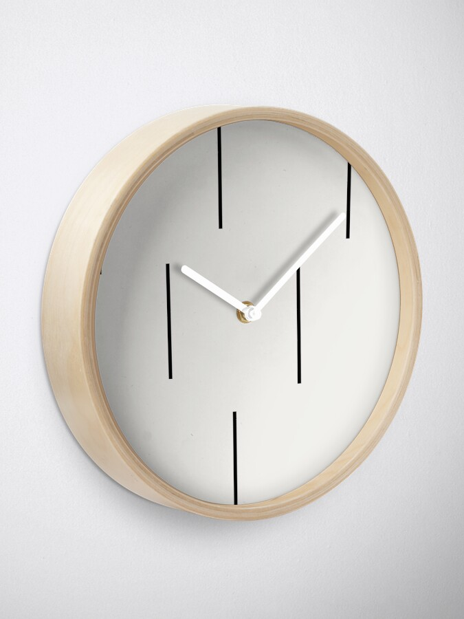 Alternate view of MUDCLOTH BLACK AND WHITE STRIPES  Clock