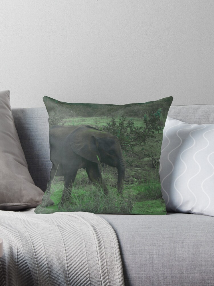 Young Elephant In Green by LoraMaze