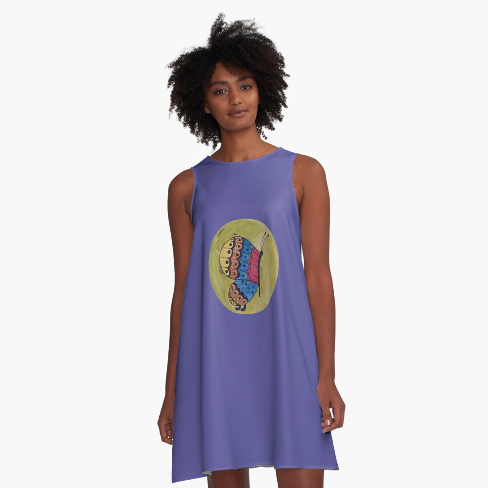 A colorful butterfly A-Line Dress Front