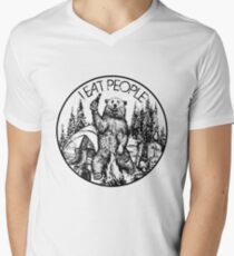 Camping I Eat People Vintage T Shirt Men's V-Neck T-Shirt