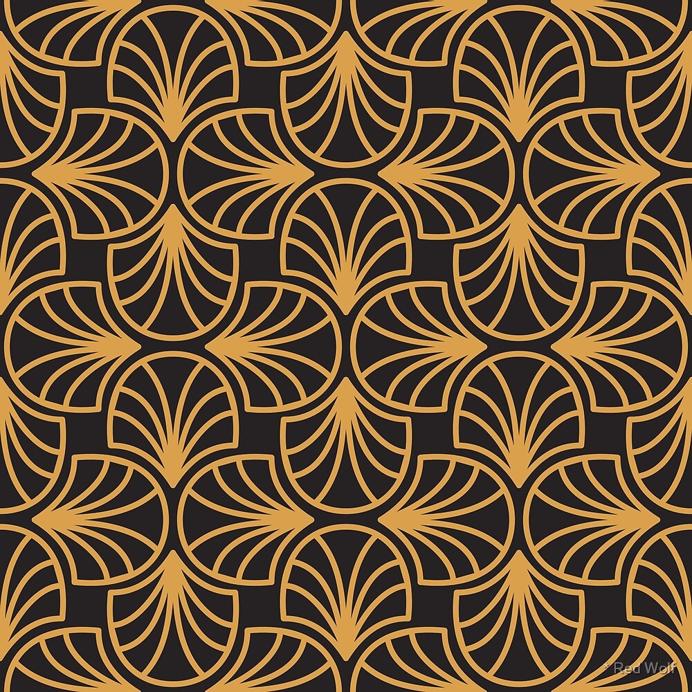 Geometric Pattern: Art Deco: Curve Outline: Gold/Black by * Red Wolf