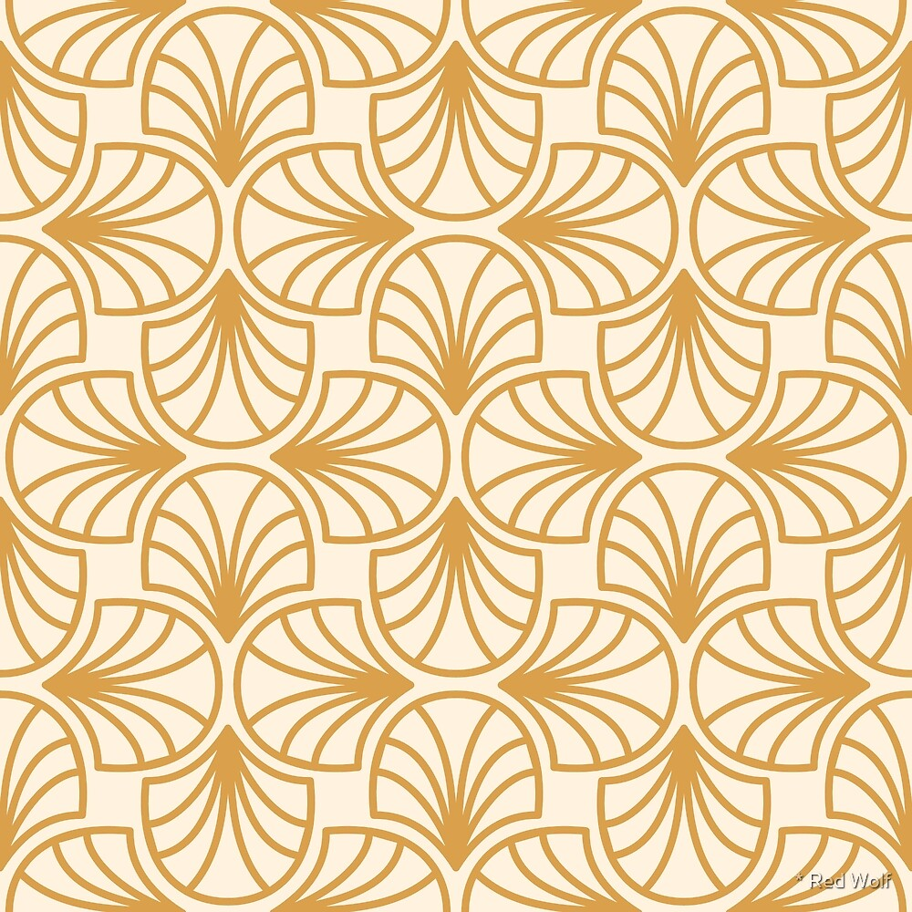 Geometric Pattern: Art Deco: Curve Outline: Gold/Cream by * Red Wolf