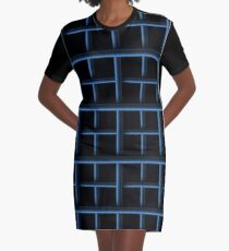 Pipes pattern chequered blue three dimensional effect design Graphic T-Shirt Dress