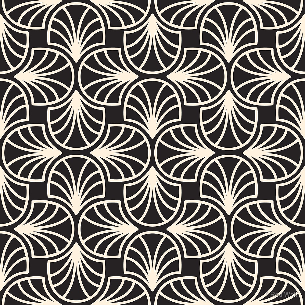 Geometric Pattern: Art Deco: Curve Outline: Cream/Black by * Red Wolf