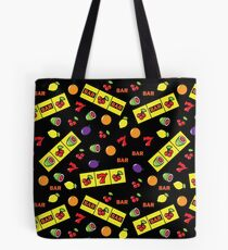 Casino Lucky Slot Machine Cherry Melon Lemon Fruits Pattern Tote Bag