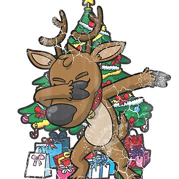 Christmas Tree Dabbing Reindeer by frittata