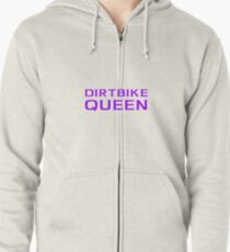 Dirtbike Queen Funny Motocross Design For Women For Girls Zipped Hoodie