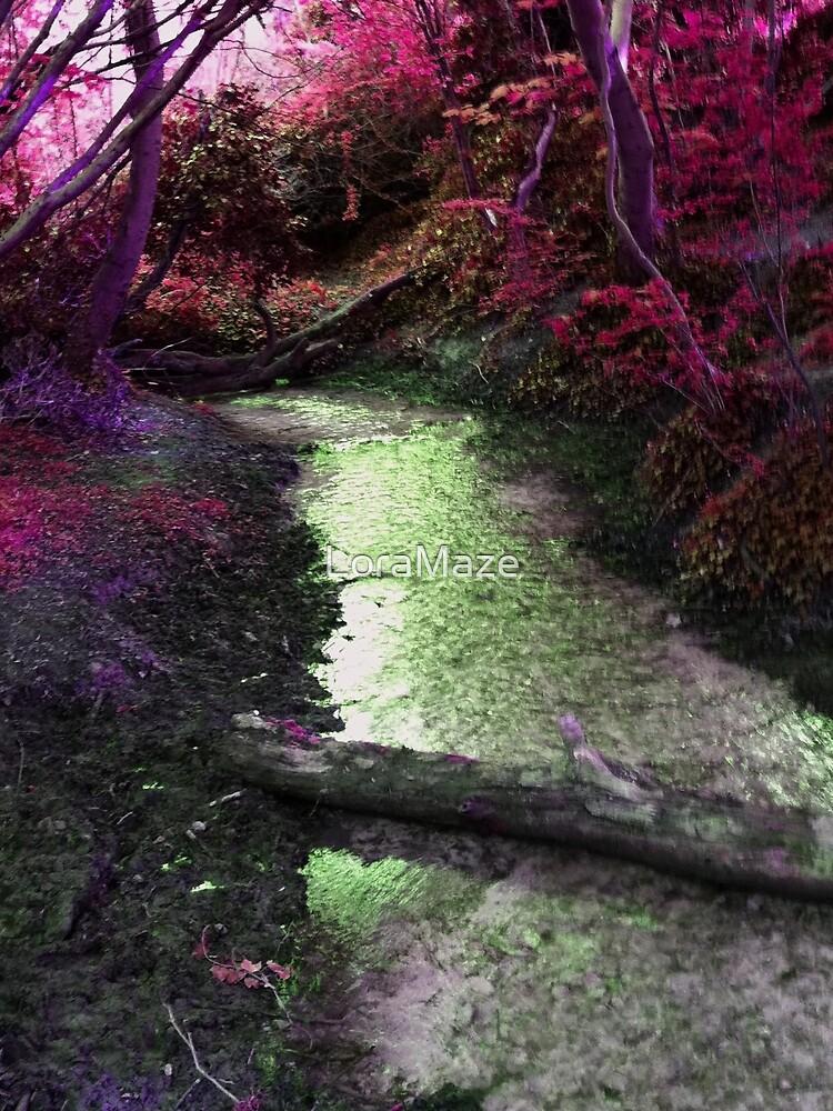 Woodland Stream in Magenta by LoraMaze
