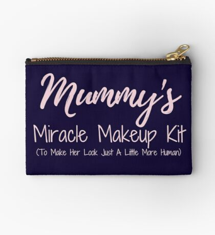Mummy's Miracle Makeup Kit To Make Her Look Just A Little More Human - navy & pink Zipper Pouch