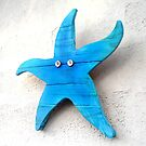 Wooden Blue Starfish Wall Hanging by Teresa Schultz