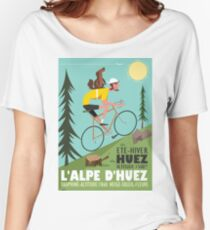 Cyclist and Marmotte poster Women's Relaxed Fit T-Shirt