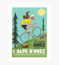 Cyclist and Marmotte poster Art Print