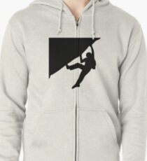 Climbing on an overhanging rock Zipped Hoodie