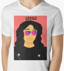 Bicon: Stephanie Beatriz/Rosa Diaz Men's V-Neck T-Shirt