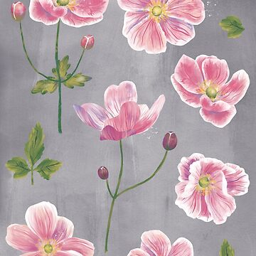 Japanese Anemone Flowers by squirrell