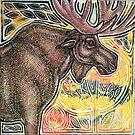Standing Moose by Lynnette Shelley