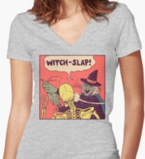 Witch-Slap Women's Fitted V-Neck T-Shirt