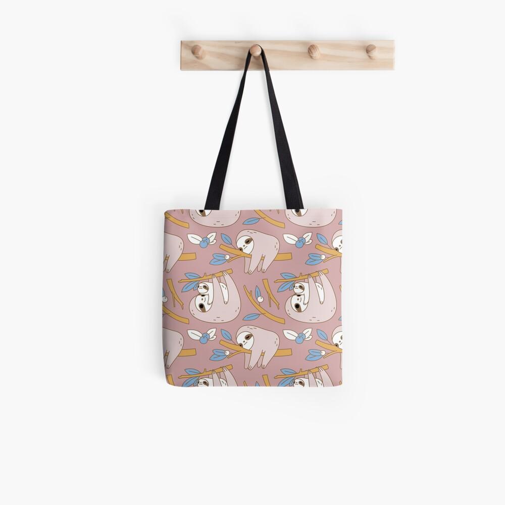 Sloth Pattern in Pink  Tote Bag