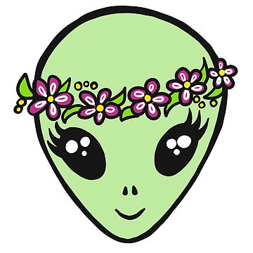 Alien Hippie Flowers Peace by boom-art