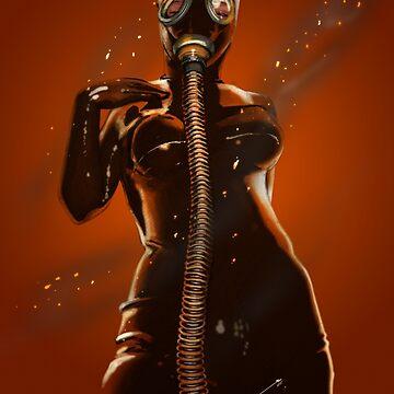 Gasmask in fire by elenadarkberry