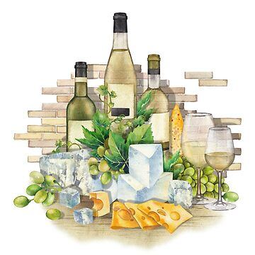 Watercolor glasses of white wine, bottles, white grapes and cheese. by Glazkova
