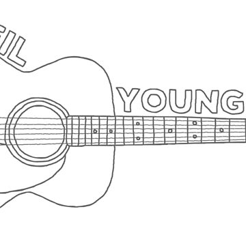 Neil Young Acoustic Guitar (Gray) by markbot