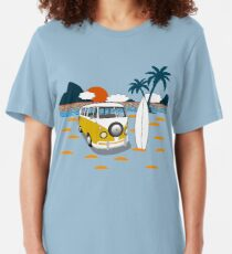 Surfer Klassischer Reisemobil Slim Fit T-Shirt