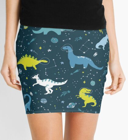 Space Dinosaurs in Bright Green and Blue Mini Skirt