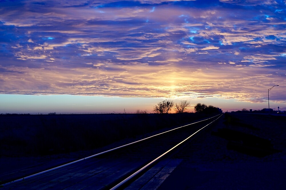 Sunset Over Kansas Train Track by EricaRobbin