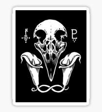 Crow Skull and Lilies Sticker