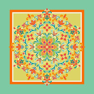 Ethnic-Floral Kaleidoscope-Multicolored in Chartreuse, Turq and Orange by IcArtsyOrigin8