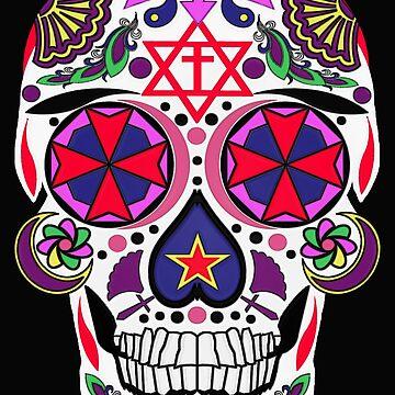 Knights of Malta Sugar Skull by MARTYMAGUS1