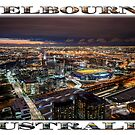 Melbourne at Night (widescreen poster on white) by Ray Warren