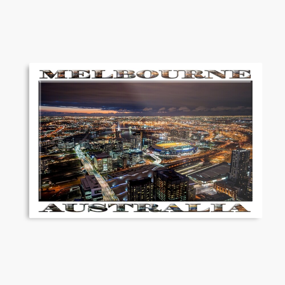 Melbourne at Night (widescreen poster on white) Metal Print