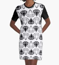 Black and white diamonds pattern Graphic T-Shirt Dress