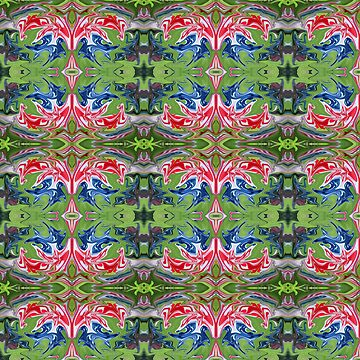 Red white and blue poured paint abstract design by nscphotography