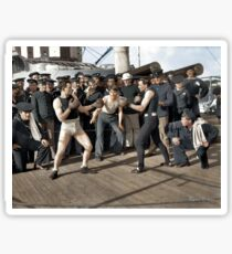 Boxing match aboard the U.S.S. New York. July 3, 1899.  Sticker