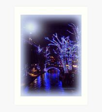 Riverwalk,  Christmas Lights Art Print