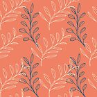 Homeland Flora Floating Leaves in Tangerine by radgedesign