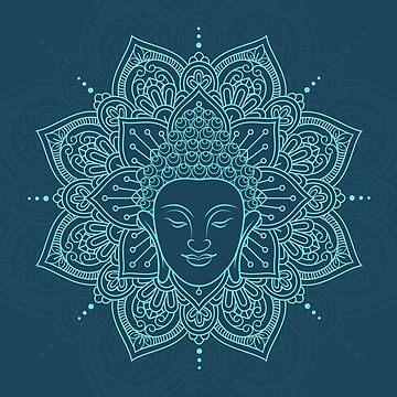 Buddha Head and Lotus Mandala blue yoga calming by decentdesigns