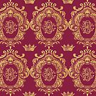 Castlefield Monogram Crest Red & Gold by grandreverie