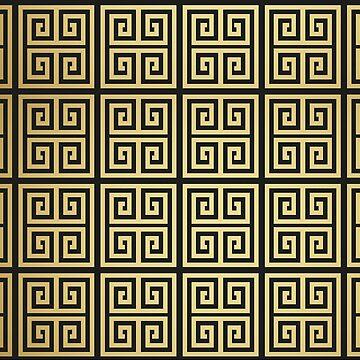 Gold High Fashion black and golden Mediteranean pattern by decentdesigns
