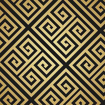 Gold High Fashion black and golden Greek Mediterranean pattern by decentdesigns