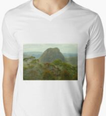 Mount Tibrogargan in the Glasshouse Mtns V-Neck T-Shirt