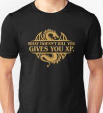 Camiseta unisex Lo que no te mata te da XP Adicto a RPG de mesa