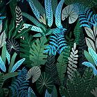 Blue Tropical Jungle at Night by UtArt